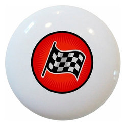 Carolina Hardware and Decor, LLC - Red Racing Checkered Flag Ceramic Knob - New 1 1/2 inch ceramic cabinet, drawer, or furniture knob with mounting hardware included. Also works great in a bathroom or on bi-fold closet doors (may require longer screws).  Item can be wiped clean with a soft damp cloth.  Great addition and nice finishing touch to any room.
