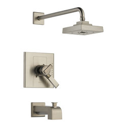 Delta Monitor(R) 17 Series Tub and Shower Trim - T17486-SS - Inspired by geometric designs found in mid-century modern furniture, Arzo makes a bold statement in understated fashion.