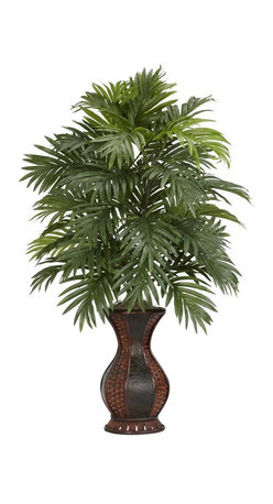 """Nearly Natural - Areca Palm w Urn Silk Plant - This floral display will capture your attention. An impressive amount of foliage. Will stay beautiful for yours to come. Construction Material: Polyester material, plastic, Iron, Wood, PVC Leather. 24 in. W x 24 in. D x 37 in. H ( 4 lbs. ). Pot Size: 7.5 in. W x 12.5 in.HThis is a floral display that definitely calls attention to itself.  Standing at an impressive 37"""" tall, this multi-leveled plant showcases an impressive amount of foliage, yet takes almost no upkeep at all to ensure a plant that will stay beautiful for years to come.  The decorative two-toned urn will also attract due compliments, and fit as a lovely centerpiece for your next dinner occasion."""