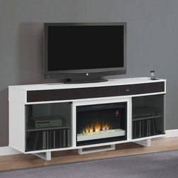 "Classic Flame Enterprise White Electric Fireplace Entertainment Center - The main problem with the sleek visions of the future that we get in sci-fi movies is that they always forget to factor in the traditional elements that we want to take with us into these gleaming futures but that's not a problem you'll have with the Classic Flame Enterprise White Electric Fireplace Entertainment Center. There's no denying the ultra-modern lines of this chic entertainment center makes it easy to fall in love with. An integrated docking station allows you to charge and sync your Apple mobile device while it connects to the sound bar that's built into the face of the console. This sound bar has a removable grille that covers a pair of tweeters for the high end and a powered sub-woofer with rear-facing ports give you the deep rumbling bass that rounds out the sound. You can even wirelessly stream music from any smartphone in the room. The body is crafted from rugged MDF and solid wood with an exterior of glossy white-finished veneers. A pair of roomy storage cabinets sit behind doors of smoked glass providing you with the room you need for AV components gaming consoles and their assorted remotes and controllers. About Twin-Star International Inc./ClassicFlame Twin-Star International Inc. a premium home furnishings manufacturer offers an extensive line of high-quality products ranging from classic traditional items to modern pieces that embrace global furnishing trends. Founded in 1996 Twin-Star employs top-of-the-line in-house designers and engineers to continually provide customers with the finest products. Twin-Star has world headquarters in Delray Beach FL with showrooms throughout North America. Classic Flame products are the first electric fireplaces to design mantels of the most sought after furniture styles from the finest quality hardwood solids and hand selected veneers. They're the first to use fine furniture grade construction techniques and electrical inserts with glowing logs and ember beds that look real whether turned on or off. Classic Flame has earned their reputation as """"the finest furniture in the electric fireplace industry."""" Twin Star products include a 1-year limited warranty guaranteeing workmanship and material quality for 1 year from the date of purchase assuming normal use. Please contact Twin Star at 866-661-1218 or our Customer Care Center for service issues and questions regarding product guarantee."
