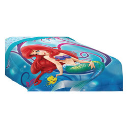 Franco Manufacturing - Little Mermaid Twin-Full Bed Comforter Flower Swirls Blanket - FEATURES: