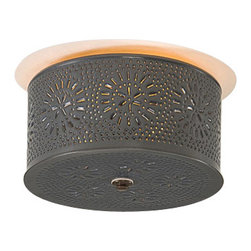 Irvin's Tinware - Round Ceiling Light with Chisel in Country Tin - Lovingly crafted by hand, our Round Pierced Ceiling Light is the perfect lighting accent. This fixture creates a cozy country atmosphere in your home.