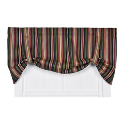 Ellis Curtain - Montego Stripe Black 60 x 24-Inch Tie-Up Window Valance - - Montego Stripe Tie-Up Valance--Stripes can change the look and feel of any room or space in your home. Stripe patterns that use tones from the same color family create a crisp visual interest that coordinates wonderfully with solid colors and many contrasting patterns. The Montego Stripe is a small scale multi colored vertically-oriented stripe pattern that draw the eyes up, and create the illusion of more height in the room. The soft 100-percent cotton duck fabric creates a softer texture and smoother draping effect that some times can't be achieved with inferior synthetic fabrics. The Tie-Up Valance is one piece valance with two strap ties sewn into a decorative 3-Inch rod pocket for easy hanging. Length is measured overall 24-Inch from header top to bottom of panel; width is measured overall 60-Inch   - A drapery rod, which is not included, is required to complete installation   - This item is dry clean only Ellis Curtain - 730462197443