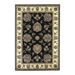 Cambridge 7339 Black/Ivory Floral Mahal Rug - Our Cambridge Series is machine-woven in China of heat-set polypropelene. This line features a current color palette in classic and transitional patterns providing a well-designed and durable rug at a very affordable price point. No fringe.