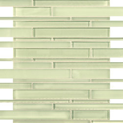 Artistic Tile Opera Glass Collection - M Butterfly Stilato Linear Mosaic - Versatile, contemporary and timeless: Opera Glass offers ultimate design flexibility. Clear float glass, with color applied to the back, in large and small formats, full spectrum of colors, satin and gloss finishes, and wide selection of shapes allow for endless pairing possibilities. Its versatility is unrivaled. Modern and classic, mysterious and inviting, Opera Glass is fresh and elegant.
