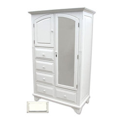 Tradewinds - Cottage Style Mirrored Armoire, White - Complete the regal look of your bedroom by incorporating this wonderful cottage queen headboard to your bed. This cottage house furniture piece comes with multiple finish options to match with your current decor.