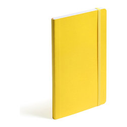 Poppin - Soft Cover Notebook, Yellow, Medium - Keep your little black book — or play the field in a rainbow of colors. This notebook features 192 white ruled pages for your field notes, love poems and bright ideas, and it has an interior pocket, elastic closure and an orange bookmark so you know your place.