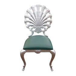 Pre-owned Vintage Silver Venetian Grotto Shell Chair - Vintage grotto chair refinished in silver. Made of cast aluminum suitable for indoor and outdoor use. Original green upholstery seat is ready for your fabric. Great funky accent piece!