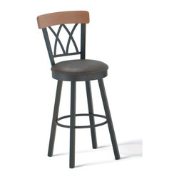 """Amisco - Brittany 34"""" Swivel Barstool with Memory Return - The charming tall barstool definitely has plenty to offer! With an elegant cathedral back with wooden backrest and a memory return swivel The barstool offers both style and practicality. The appealing barstool can be manufactured in a vast array of metal colors, wood finishes, and fabrics for your meticulous tastes and preferences for no additional charge. Further customize your stool by choosing between a standard swivel seat or a memory swivel seat. All Amisco products have full length welds on the entire main structure that are warranted for 10 years. Features: -Choose from standard swivel and memory swivel seat options. -Cathedral back. -Wooden Backrest. -Nontoxic, environmentally safe baked powder coating for a scratch resistant finish. -Seat is 34 inches from the ground. -Clean wrinkle free bends for a very aesthetic finish. -10 Year limited warranty. Dimensions: -Seat height: 30.5"""". -Overall: 44.75"""" H x 17.75"""" W x 19.5"""" D."""