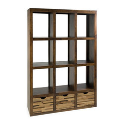 Reclaimed Wood Shelf - Put your treasures on display with these striking wooden shelves. We love the smooth brown finish of the pine shelves and the rustic look of the three-drawer bottom done in a patchwork of reclaimed woods. This piece would make a great room divider, but it's versatile enough to make its home anywhere.
