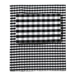 Serena & Lily - Gingham Sheet Set Black - Borrowed from the boys, this is one of those classic patterns that's easy to dress up or down just like the perfect button-down shirt. We love how the flat sheet and pillowcases are woven with a slightly larger gingham than the fitted. A modern mix in black and white.