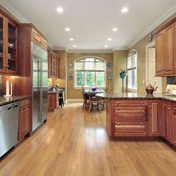 White Oak Flooring Design Inspiration - White Oak flooring in a traditional American kitchen.