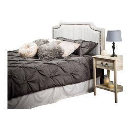 Great Deal Furniture - Forde Queen to Full Sized Beige Striped Fabric Headboard - The Forde headboard is a great piece to add elegance to your bedroom. You can spruce up the look of any queen or full sized bed with this headboard.