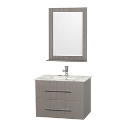 "Wyndham Collection - Wyndham Collection 30"" Centra Grey Oak Single Vanity w/ Square Porcelain Sink - Simplicity and elegance combine in the perfect lines of the Centra vanity by the Wyndham Collection. If cutting-edge contemporary design is your style then the Centra vanity is for you - modern, chic and built to last a lifetime. Available with green glass, pure white man-made stone, ivory marble or white carrera marble counters, and featuring soft close door hinges and drawer glides, you'll never hear a noisy door again! The Centra comes with porcelain sinks and matching mirrors. Meticulously finished with brushed chrome hardware, the attention to detail on this beautiful vanity is second to none."