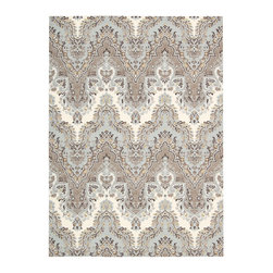 """Waverly - Waverly Wav16 Treasures WTR02 2'6"""" x 4' Elephant Area Rug 23516 - An alluring Ikat design, presented in magical shades of dove grey, sky blue, pearl white and becoming black, beautifully bridges the gap between the contemporary and the traditional. With its fascinating flame-stitch layout, this Palace Safari area rug by Waverly for Nourison is incontestably enthralling."""