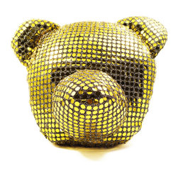 Freddy Dico - Sequins Bear Head Pillow (Crystal) - Equipped with a healing crystal at its core, this handcrafted, iconic bear-head pillow will sparkle in any room with its black or gold 'mirror' sequins.
