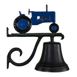 Cast Bell with Blue Tractor Ornament - Old blue stands on the Cast Bell with Blue Tractor Ornament making everyone feel at home. This bell comes complete with an easy-to-mount scrolled bracket, is made of heavy-duty aluminum, and has a weather-resistant black enamel finish that's baked on for durability.