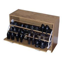 4D Concepts - 4D Concepts Deluxe Single Shoe Cabinet in Oak - A perfect solution to your shoe storage needs. The single tier cabinet is decorative with a shaped vacuum formed front. The drawer opens with a shaped pewter colored handle for easy opening. The 1 drawer pivots open on a uniquely designed plastic bracket to 3 fixed shelves that are able to store up to 12 pairs of shoes (max size men's 10). Constructed of composite board and highly durable PVC laminate. Clean with a dry non abrasive cloth. Assembly required.