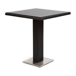 Caluco - Mirabella Bar Table - The Mirabella Bar Table combines style, durability, and comfort to provide unmatched value in outdoor seating.  Pictured in the dark java wicker with stainless steel finish.