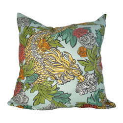 Domusworks - Dragon Decorative Pillow Cover, 20 X 20 - Add a splash of color and pattern to complement your home with new pillows.