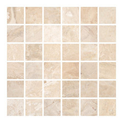 Stone & Co - Diana Royal 2x2 Polished Marble Square Mosaic - Your kitchen, bathroom or living room can reek of royalty when you install any tile choice from the Diana Royal Marble Collection. These tiles have a touch of beige on them that naturally fit any room in your house and compliments furniture or other household items you have.A wall covered with Diana Royal Marble is perfect to hang your family portrait celebrating the generations that have lived in your family. Alternatively, a laid back beige tone is ideal for your lovely ceramic pots and sculptures you have in the living room and some in the kitchen. Picture the same touch of beige complimenting your lovely shower drapes and the European faucets you have in the bathing area.The beauty of marble is you don�t have to worry about kids damaging the floor or walls with their crayons and paintbrush. Marble is easy to clean and does not crack despite the number of times the kids bang their toys on the floor. It is a tough and durable stone that will remain sparkly for years.  Because we have a wide selection of Diana Royal Marble tiles, we always suggest our clients to first determine how much they are planning to spend and to know the measurements of the rooms they are renovating.We can also do the measurements for you and even advice on the right tile from our Diana Royal Marble Collection to use.