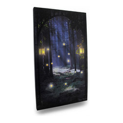 Zeckos - Fireflies in The Forest Lighted LED Canvas Wall Hanging - Reminiscent of a quieter time when an evening walk in the forest allowed you to watch the magical show of fireflies flitting between the trees Now you can have that same feeling anytime when you hang this fun firefly canvas print on the wall This 14 inch wide, 24 inch high, 1 inch (3 cm) deep canvas print lights up with the flip of the switch on the side, so you can watch fireflies every night Printed canvas is stretched over a wood frame backed with vinyl to safely house the wires while providing access to the battery compartment, and requires only 2 AA batteries (not included). Original artwork is by Ryan Bowers. It's a wondrous accent for a child's bedroom, and would look amazing in an enclosed porch, patio or garden oasis, and makes a wonderful gift any 'lightning bug chasers' are sure to enjoy