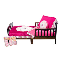 "Sophia Lolita - Toddler Set (4pc) - Come into a room full of color and fun with ""Sophia Lolita""!  Dance and spin in dynamic hues of poppin pinks, outrageous orange and brilliant black all surrounded by whimsical white!  ""Sophia Lolita"" is designed using contemporary circular shapes in different sizes throughout its entire collection.   This 4pc set includes: crib sheet, coordinating medium quilt, pillowcase or sham, and decorative pillow. Crib sheet adds color to the entire collection in poppin pink cotton fabric.  Sophia Lolita coordinating quilt is fun and pretty.  Soft minky on both sides make this the perfect blanket anytime and anywhere!  Quilt front is designed with bright poppin pink minky and detailed with the collections circular shape in a magnificent appliqu� which is centered.  Back of quilt is solid poppin pink.   Quilt has ruffle trim in ""Lolita Stripe"" cotton print fabric which adds detail and style.   Not only does this quilt coordinate with the entire set you can also enjoy using this outside the crib and for years to come!  Set come with pillowcase (shown) OR pillow sham.  PIllowcase is pink with Sophia Stripe trim.  Pillow Sham is light pink with white and hot pink trim.  Decorative pillow with embroidered design and soft pink minky sides. Requests will be honored if supplies allow."