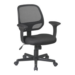 "Office Star - Office Star Screen Back Task Chair with ""T"" Arms and Mesh Fabric Pads - Office Star - Office Chairs - EM202223 - Office star is one of the most trusted brands in North America. Bringing quality furniture at an exceptional price the entire range of Office Star chairs bring amazing comfort that will last for years to come."