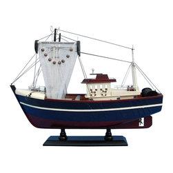 "Handcrafted Model Ships - Fishin Magician 18"" - Wooden Model Fishing Boat - Not a model ship kit"