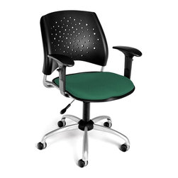 OFM - Stars Adjustable Swivel Chair w Arms & Cushion Seat (Black) - Color: Black. Swivel and seat height control. 16 In-stock colors. Triple Curve seat design. Replaceable stain-resistant seat cushions. Sturdy black polypropylene casters. Meets or Exceeds ANSI/BIFMA standards. Add drafting kit for conversion into a stool. Weight capacity: 250 lbs.. Pictured in Shamrock Green. Base size: 27 in.  5 Star. Seat size: 18.5 in. x 17.5 in. . Back size: 19  in. x 16 in. . Seat height: 17 in. - 21 in. . Overall: 23 in. W x 22.5 in. D x 34-37.5 in. H