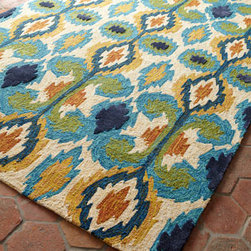"Horchow - Leanne Ikat Rug, 7'10"" Round - This handmade indoor/outdoor rug wows with bright shades in a bold ikat pattern. Made of hooked polypropylene/polyester blend. Sizes are approximate. Imported. See our Rug Guide for tips on how to measure for a rug, choosing weaves and patterns..."