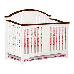 Delta Springtime Lifetime Convertible Crib, White/Espresso - The espresso detail on this white crib adds something unique!
