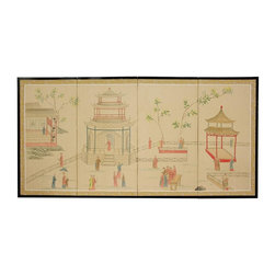 Oriental Unlimited - Enter The Pagoda Chinese Wall Art Screen - Screens may vary slightly in color. Includes lacquered Brass geometric hangers for easy mounting. Large hand painted ink and watercolor silk screen. Song dynasty (10th Century China) brush art style. Crafted from silk covered paper. Glued over 4 side-by-side lacquered wood frames. Matted with a fine Chinese silk brocade border. Can be displayed as a privacy screen. 36 in. H x 72 in. W x 0.62 in. D