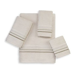 Avanti - Avanti Madison Napa Fingertip Towel in Ivory - Avanti's Madison collection features plush, soft, zero twist towels. These luxurious ivory towels have four embroidered horizontal lines in tones of ivory and green that will add a subtle and sophisticated touch of color to your bath.