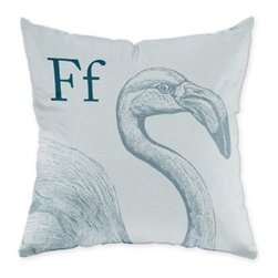 Flamingo, Blue Grey Throw Pillow - If pink just doesn't coordinate with your decor, this flamingo pillow in blue-gray just might do the trick!