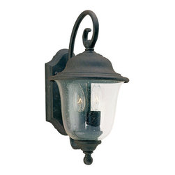 "Sea Gull Lighting - Sea Gull Lighting 8459 Wrought Iron 2 Light Outdoor Wall Sconces from the Trafal - The welcoming glow of light shines through clear seeded glass set in an oxidized bronze finish over solid brassExtends: 9-1/2"", height from center of outlet box: 6""2 40w Candelabra Base Required (Not Included)"