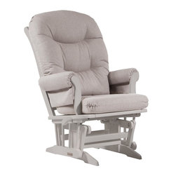 Dutailier - Sleigh glider-multiposition and recline - gray - Dutailier's exclusive gliding system with top quality sealed ball bearings. Multiposition mechanism allows to stop the glider at the desired position. Great reclining mechanism allows backrest to be fully adjustable. Hardwood frame in white finish. Removable foam cushions and padded arms. Glider: 27 in. x 31 x 42.5 in.Ideal for nursing or simply relaxing, this Sleigh glider offers an exceptionally smooth and extra long glide motion with thick cushions and padded arms that will add class and elegance to your decor. The multiposition mechanism locks the glider in 6 different positions and makes it easier to sit in or step out of the glider. In addition, it features a reclining mechanism to maximize your comfort. There are no sharp edges, the finish is toxic free and this product meets all safety standards.