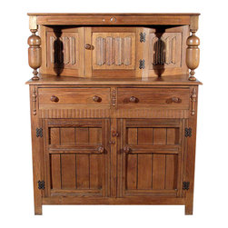 Antiques - Antique Oak Georgian Court Cupboard Sideboard - Golden oak finish