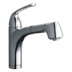 Elkay - Single Lever Pull-Out Bar  Faucet Chrome - Product height: 18.5. Product min width: 9. Product depth: 2.7single lever pull-out prep/bar faucet chrome. Elevate the culinary experience with the professional grade gourmet collection. Meticulous attention to form and function creates a new standard for the connoisseur. Gourmet pull-out bar / prep faucet deck mount pull-out spray.