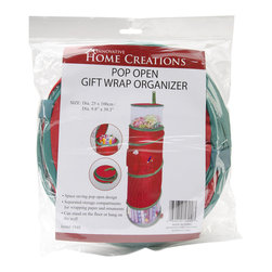 None - Pop-Open Christmas Gift Wrap Organizer - GENERAL PRODUCTS-Pop Open Gift Wrap Organizer. This pop open bag is a convenient way to store and organize your gift wrap. It features separated storage compartments for ornaments and wrapping paper.