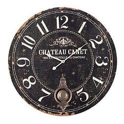 Z Gallerie - Chateau Canet Wall Clock - Appearing as if from a time gone by, our Chateau Canet Wall Clock adds Old World ambience to your decor. The paper face on a 24 diameter wood base is skillfully antiqued and embellished with an ornate metal pendulum and trim, giving the impression of a timepiece found at a treasure-filled French antique market. Quartz movement. Requires one AA battery, not included.