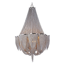 Maxim Lighting - Chantilly 12-Light Chandelier - Chantilly collection features metal frames gracefully draped with Nickel finished jewelry chain. Metal trim rings of Polished Nickel add sharp contrast to the softness of the chain, which conceals the xenon light source.  This product includes 12, 40-watt G9 bulbs.