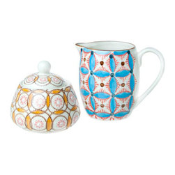 """Bohemian Sugar / Creamer Set - A stout ceramic tea pot and creamer pitcher brightens the mood with colorful boho designs. Approx. dimensions: 9 1/2""""W x 6 1/2""""H. Ceramic; dishwasher-safe. Imported from France."""