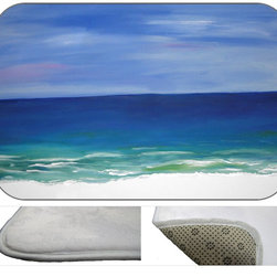 Beautiful Beach Plush Bath Mat, 30X20 - Bath mats from my original art and designs. Super soft plush fabric with a non skid backing. Eco friendly water base dyes that will not fade or alter the texture of the fabric. Washable 100 % polyester and mold resistant. Great for the bath room or anywhere in the home. At 1/2 inch thick our mats are softer and more plush than the typical comfort mats.Your toes will love you.