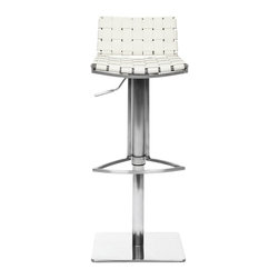 Safavieh - Safavieh Mitchell Gas Lift Barstool X-A1003XOF - The Mitchell Gas Lift Barstool offers stylish comfortable seating that adjusts with the flip of a lever. Its sturdy square base, sleek pedestal and footrest in stainless steel are contrasted seats and backs in basket-woven strips of white bonded-leather.