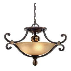 Golden Lighting - Golden Lighting 3966-SF-FB Portland 3 Light Semi-Flush Mount, Fired Bronze - Portland Convertible Semi-Flush in the Fired Bronze finish