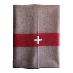 Consigned - Vintage Swiss Army Wool Blanket - Warm, rustic, vintage swiss army blanket. 100% wool with red band and white stitched flag. Manufactured but never issued. Vintage blankets in like new condition.