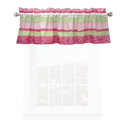 Pem America - Annas Ruffle Pink Valance - Hand crafted horizontal stripes floral prints in pink and green with ruffle highlights.  The simple horizontal design is highlighted by a rag finish highlighted on the surface of the quilt.  This unique looks brings and added surface texture to the quilt.