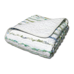None - Jasmine Ruffled Cotton Throw - Ruffles of paisley and floral printed fabrics in lively colors leap from this frayed-edge country-style quilt,giving it a shabby chic look and feel. Eye-catching yet casual,with a variety of colors,this throw will complement a variety of decors.