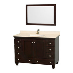 "Wyndham Collection - Wyndham Collection 48"" Acclaim Espresso Single Vanity w/ White Porcelain Sink - Sublimely linking traditional and modern design aesthetics, and part of the exclusive Wyndham Collection Designer Series by Christopher Grubb, the Acclaim Vanity is at home in almost every bathroom decor. This solid oak vanity blends the simple lines of traditional design with modern elements like square undermount sinks and brushed chrome hardware, resulting in a timeless piece of bathroom furniture. The Acclaim comes with a White Carrera or Ivory marble counter, porcelain, marble or granite sinks, and matching mirrors. Featuring soft close door hinges and drawer glides, you'll never hear a noisy door again! Meticulously finished with brushed chrome hardware, the attention to detail on this beautiful vanity is second to none and is sure to be envy of your friends and neighbors!"